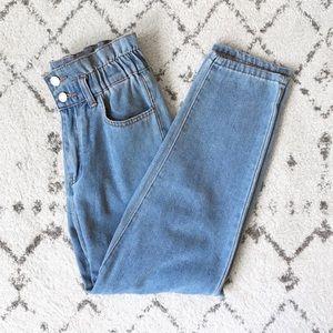 High Waisted Light Wash Mom Jeans Paperbag Waist